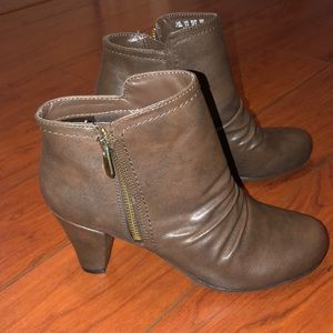 Brown Fergalicious heeled bootie